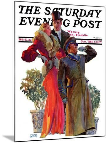"""Taxi!,"" Saturday Evening Post Cover, February 27, 1932-John LaGatta-Mounted Giclee Print"