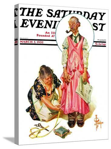 """""""Living Mannequin,"""" Saturday Evening Post Cover, March 5, 1932-Joseph Christian Leyendecker-Stretched Canvas Print"""
