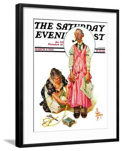 """Living Mannequin,"" Saturday Evening Post Cover, March 5, 1932-Joseph Christian Leyendecker-Framed Art Print"