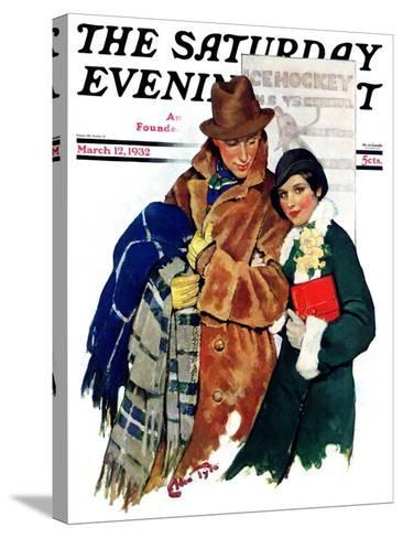 """Date at Hockey Game,"" Saturday Evening Post Cover, March 12, 1932-Ellen Pyle-Stretched Canvas Print"