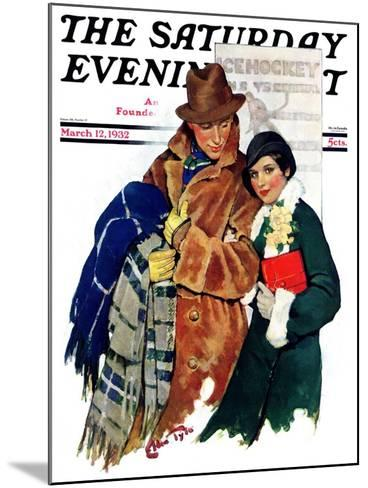 """Date at Hockey Game,"" Saturday Evening Post Cover, March 12, 1932-Ellen Pyle-Mounted Giclee Print"