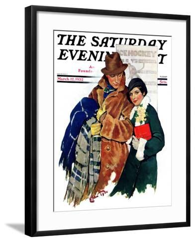 """Date at Hockey Game,"" Saturday Evening Post Cover, March 12, 1932-Ellen Pyle-Framed Art Print"