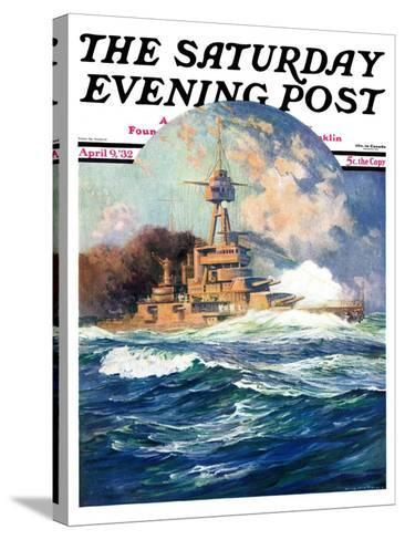 """Battleship at Sea,"" Saturday Evening Post Cover, April 9, 1932-Anton Otto Fischer-Stretched Canvas Print"