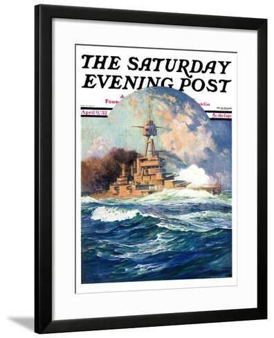 """Battleship at Sea,"" Saturday Evening Post Cover, April 9, 1932-Anton Otto Fischer-Framed Art Print"