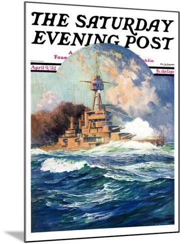 """Battleship at Sea,"" Saturday Evening Post Cover, April 9, 1932-Anton Otto Fischer-Mounted Giclee Print"
