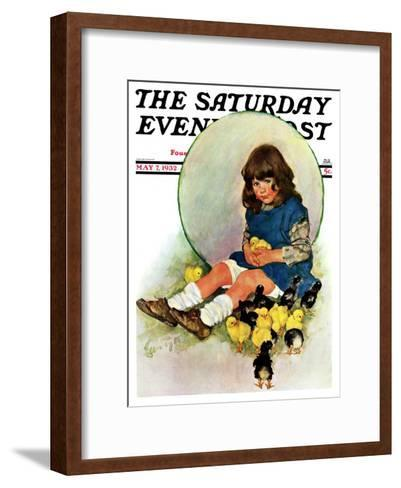 """""""Baby Chicks,"""" Saturday Evening Post Cover, May 7, 1932-Ellen Pyle-Framed Art Print"""