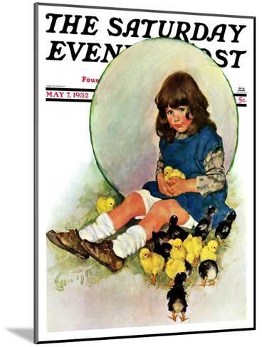 """""""Baby Chicks,"""" Saturday Evening Post Cover, May 7, 1932-Ellen Pyle-Mounted Giclee Print"""