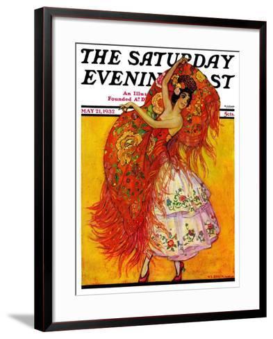 """Female Flamenco Dancer,"" Saturday Evening Post Cover, May 21, 1932-Henry Soulen-Framed Art Print"
