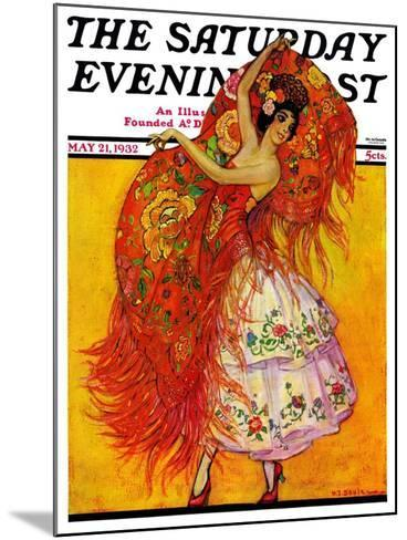 """""""Female Flamenco Dancer,"""" Saturday Evening Post Cover, May 21, 1932-Henry Soulen-Mounted Giclee Print"""