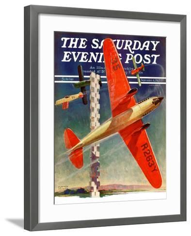 """""""Airshow,"""" Saturday Evening Post Cover, September 4, 1937-Clayton Knight-Framed Art Print"""