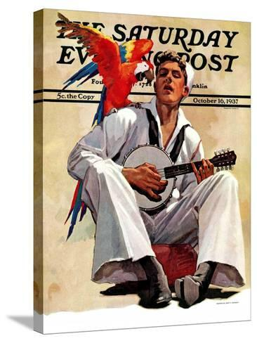"""""""Singing Sailor and Parrot,"""" Saturday Evening Post Cover, October 16, 1937-John E^ Sheridan-Stretched Canvas Print"""
