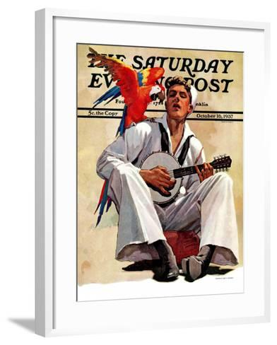 """Singing Sailor and Parrot,"" Saturday Evening Post Cover, October 16, 1937-John E^ Sheridan-Framed Art Print"