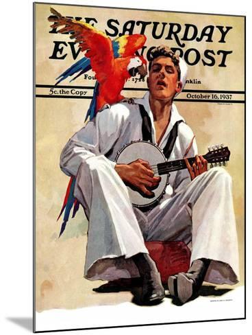 """Singing Sailor and Parrot,"" Saturday Evening Post Cover, October 16, 1937-John E^ Sheridan-Mounted Giclee Print"