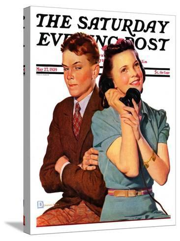 """""""Phone Call from Another Suitor,"""" Saturday Evening Post Cover, May 27, 1939-Douglas Crockwell-Stretched Canvas Print"""