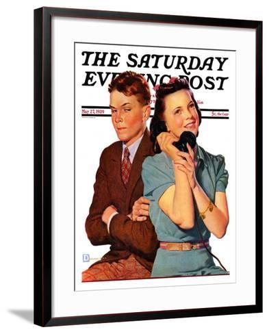 """""""Phone Call from Another Suitor,"""" Saturday Evening Post Cover, May 27, 1939-Douglas Crockwell-Framed Art Print"""
