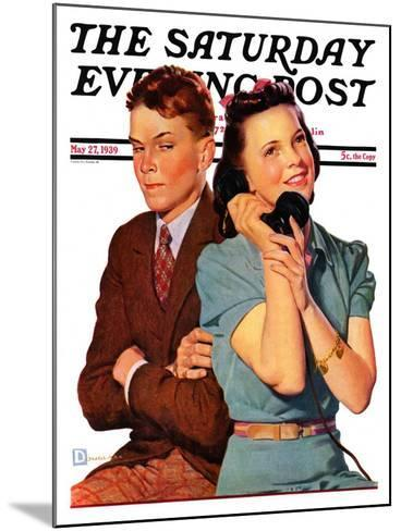"""""""Phone Call from Another Suitor,"""" Saturday Evening Post Cover, May 27, 1939-Douglas Crockwell-Mounted Giclee Print"""