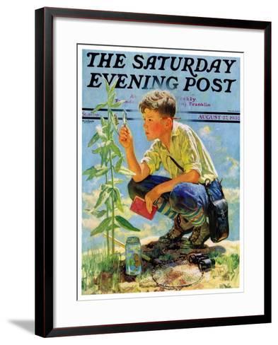 """""""Boy Botanist,"""" Saturday Evening Post Cover, August 27, 1932-Eugene Iverd-Framed Art Print"""