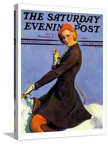 """""""Woman on Horseback,"""" Saturday Evening Post Cover, September 17, 1932-Guy Hoff-Stretched Canvas Print"""