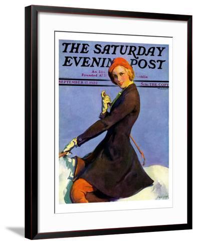 """""""Woman on Horseback,"""" Saturday Evening Post Cover, September 17, 1932-Guy Hoff-Framed Art Print"""