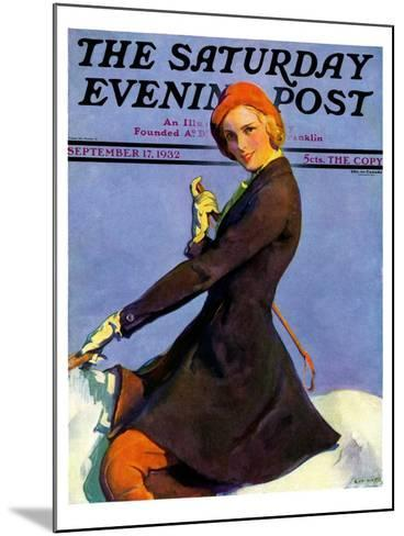 """""""Woman on Horseback,"""" Saturday Evening Post Cover, September 17, 1932-Guy Hoff-Mounted Giclee Print"""