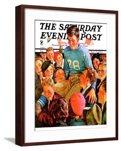 """""""Football Hero,"""" Saturday Evening Post Cover, November 17, 1934-Eugene Iverd-Framed Art Print"""