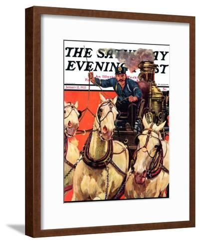 """""""Racing to the Fire,"""" Saturday Evening Post Cover, January 12, 1935-Maurice Bower-Framed Art Print"""