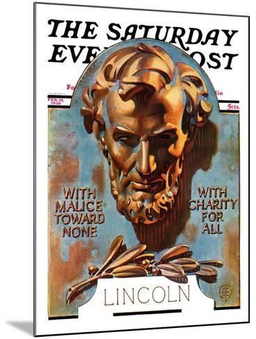 """Bronze Lincoln,"" Saturday Evening Post Cover, February 12, 1938-Joseph Christian Leyendecker-Mounted Giclee Print"