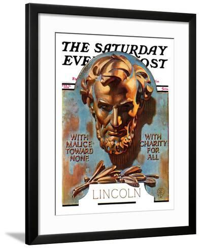 """Bronze Lincoln,"" Saturday Evening Post Cover, February 12, 1938-Joseph Christian Leyendecker-Framed Art Print"