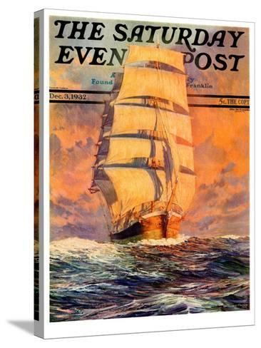 """""""Red Sky at Morning,"""" Saturday Evening Post Cover, December 3, 1932-Anton Otto Fischer-Stretched Canvas Print"""