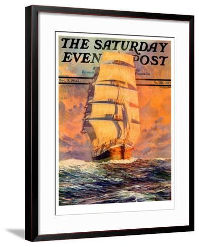 """""""Red Sky at Morning,"""" Saturday Evening Post Cover, December 3, 1932-Anton Otto Fischer-Framed Art Print"""