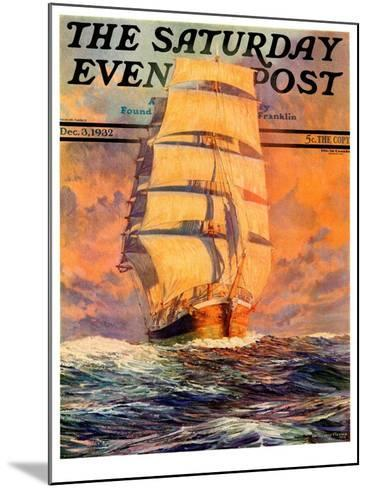 """""""Red Sky at Morning,"""" Saturday Evening Post Cover, December 3, 1932-Anton Otto Fischer-Mounted Giclee Print"""