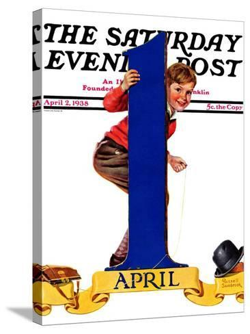"""""""April Fool's Day,"""" Saturday Evening Post Cover, April 2, 1938-Russell Sambrook-Stretched Canvas Print"""