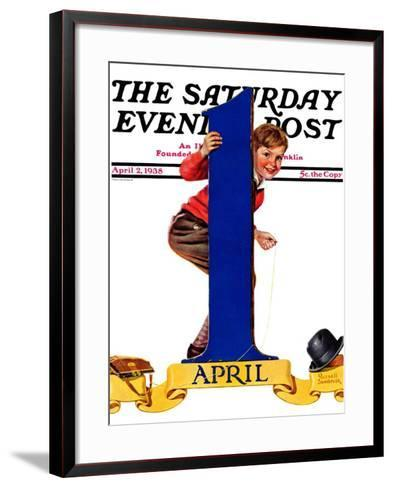 """""""April Fool's Day,"""" Saturday Evening Post Cover, April 2, 1938-Russell Sambrook-Framed Art Print"""
