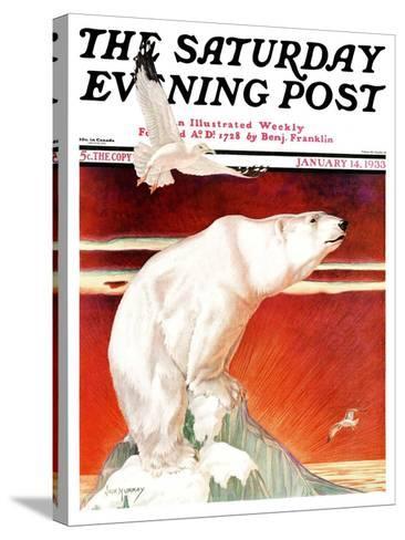 """Polar Bear on Iceberg,"" Saturday Evening Post Cover, January 14, 1933-Jack Murray-Stretched Canvas Print"