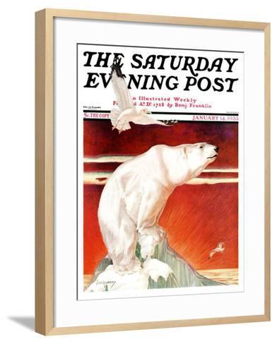 """Polar Bear on Iceberg,"" Saturday Evening Post Cover, January 14, 1933-Jack Murray-Framed Art Print"