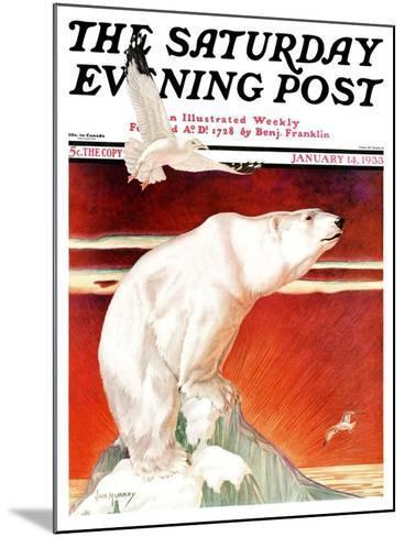 """Polar Bear on Iceberg,"" Saturday Evening Post Cover, January 14, 1933-Jack Murray-Mounted Giclee Print"