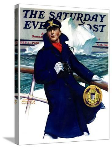 """""""Coast Guard,"""" Saturday Evening Post Cover, February 11, 1933-Edgar Franklin Wittmack-Stretched Canvas Print"""