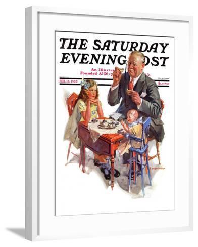 """Tea for Grandpa,"" Saturday Evening Post Cover, February 18, 1933-C^ Gager Phillips-Framed Art Print"