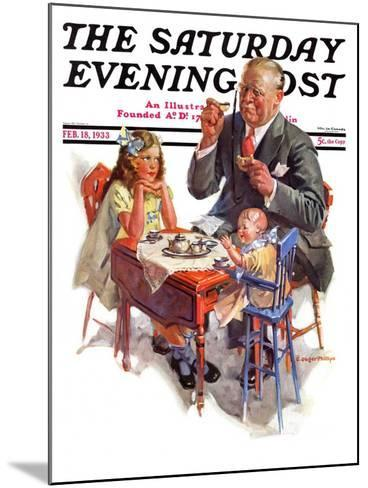 """""""Tea for Grandpa,"""" Saturday Evening Post Cover, February 18, 1933-C^ Gager Phillips-Mounted Giclee Print"""