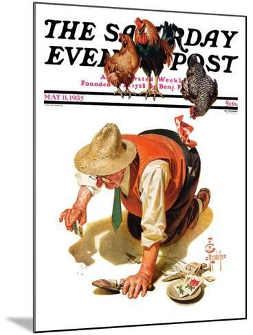 """""""Hens and Gardner,"""" Saturday Evening Post Cover, May 11, 1935-Joseph Christian Leyendecker-Mounted Giclee Print"""