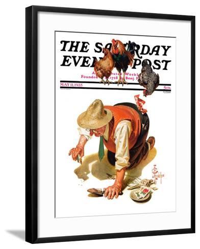 """Hens and Gardner,"" Saturday Evening Post Cover, May 11, 1935-Joseph Christian Leyendecker-Framed Art Print"