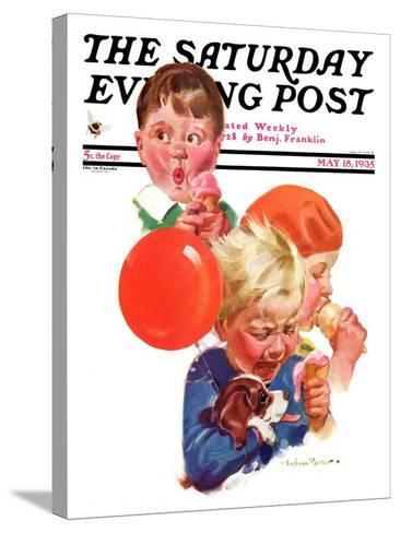 """""""Birthday Party,"""" Saturday Evening Post Cover, May 18, 1935-Cushman Parker-Stretched Canvas Print"""