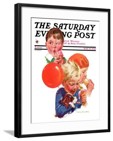"""""""Birthday Party,"""" Saturday Evening Post Cover, May 18, 1935-Cushman Parker-Framed Art Print"""