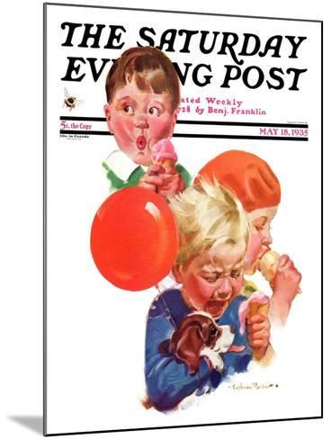 """""""Birthday Party,"""" Saturday Evening Post Cover, May 18, 1935-Cushman Parker-Mounted Giclee Print"""