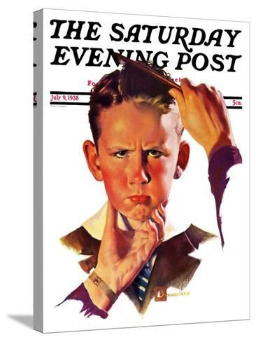 """Combing His Hair,"" Saturday Evening Post Cover, July 9, 1938-Douglas Crockwell-Stretched Canvas Print"