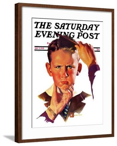 """Combing His Hair,"" Saturday Evening Post Cover, July 9, 1938-Douglas Crockwell-Framed Art Print"