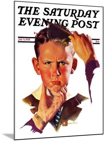 """Combing His Hair,"" Saturday Evening Post Cover, July 9, 1938-Douglas Crockwell-Mounted Giclee Print"