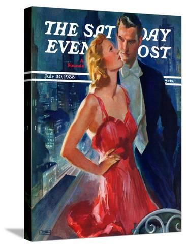 """""""Formal Couple on Balcony,"""" Saturday Evening Post Cover, July 30, 1938-John LaGatta-Stretched Canvas Print"""