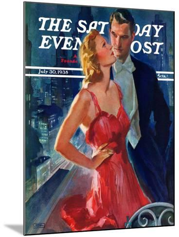 """""""Formal Couple on Balcony,"""" Saturday Evening Post Cover, July 30, 1938-John LaGatta-Mounted Giclee Print"""