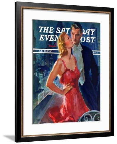 """Formal Couple on Balcony,"" Saturday Evening Post Cover, July 30, 1938-John LaGatta-Framed Art Print"